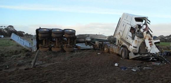 Figure 4: The damaged prime mover and semi-trailer following the collision
