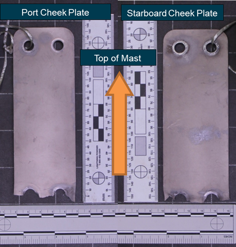 Figure 1: Port and starboard cheek plates as supplied to the ATSB. Source: ATSB