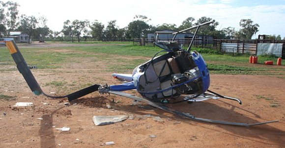 Figure 1: Damage to helicopter, Robinson R22, near Charleville, Qld. Source: Queensland Police