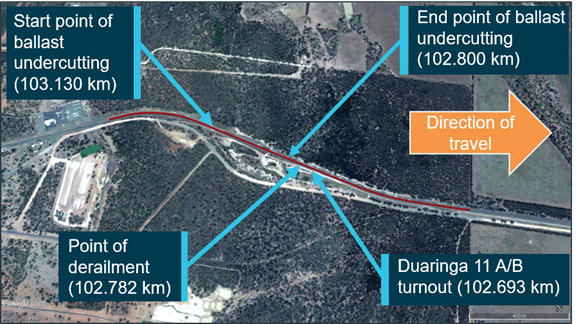 Figure 1: Position of train EF01 after the derailment, and area of ballast undercutting on the Duaringa to Aroona down line. Source: Google Earth annotated by ATSB