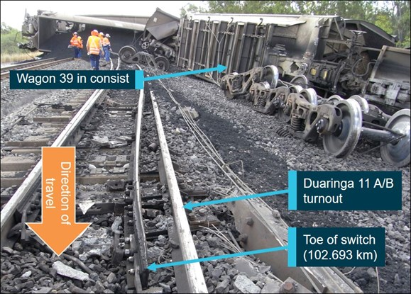 Figure 3: Looking back towards the point of derailment over the damaged 11 A/B turnout.  Source: ATSB