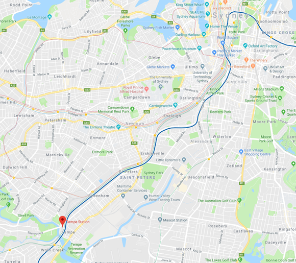 Figure 2: Location of Tempe Station, NSW. Source: Google Maps