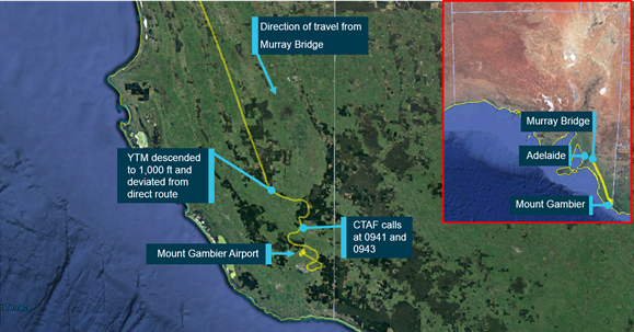 Figure 1: Track of VH-YTM approaching Mount Gambier Airport from Murray Bridge, the track deviation and approximate locations when initial CTAF calls were made, and inset, a map of South Australia showing the relative positions of Adelaide, Murray Bridge and Mount Gambier. Source: Google Earth and OzRunways, annotated by ATSB