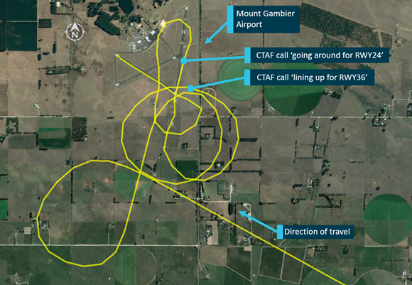 Figure 2: Track of YTM approaching Mount Gambier Airport, low-level manoeuvres, and location of CTAF calls. Source: Google Earth and OzRunways, annotated by ATSB