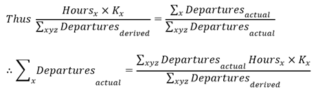 Assumption 3: Formula These flights follow the same model derived, and therefore the same proportion will apply to the original departures as per the ratio of the derived departures within each operation type.