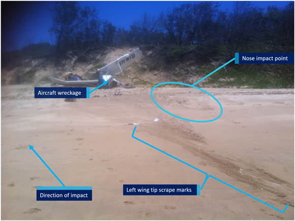 Figure 8: VH-WTQ accident site showing impact marks. Source: Wyndham Aviation chief pilot.