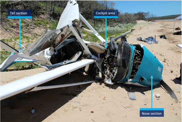 Figure 9: VH-WTQ aircraft wreckage viewed from the right. Source: ATSB.