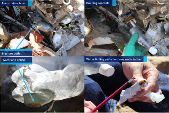 Figure 10: Fuel strainer bowl and contents showing signs of water and debris. Source: ATSB.
