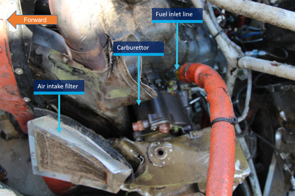 Figure 11: Carburettor and air intake assembly. Source: ATSB.
