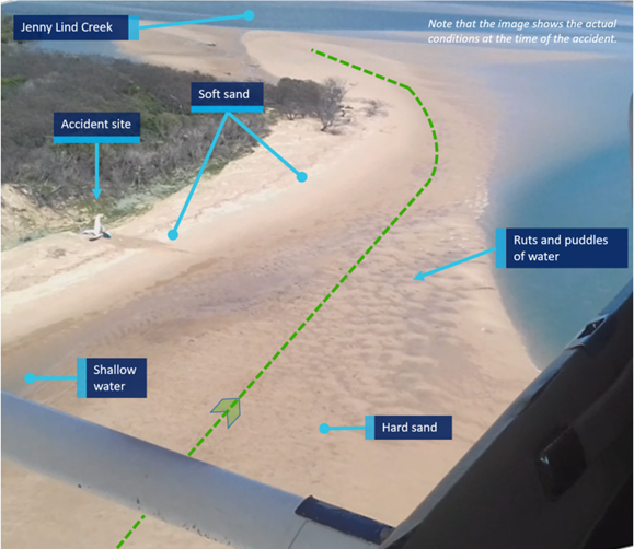 Figure 19: Image taken from VH-JER soon after the accident showing area of beach to the north of the landing area. Source: Queensland Police Service.