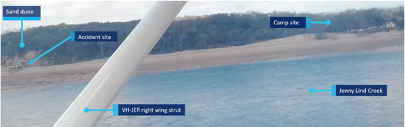 Figure 20: Image taken from VH-JER on approach to land soon after the accident showing area of beach to the north of the landing area. Source: Queensland Police Service.