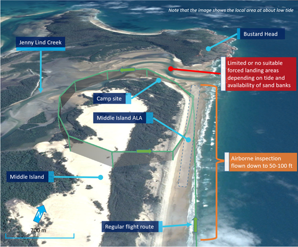 Figure 22: VH-WTQ GPS-derived regular flight path for an airborne inspection on the northerly beach landing area (green line). Source: Google earth, modified by the ATSB.