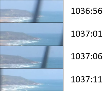 Figure B4: Video stills at 5-second intervals during descent (last image is 3 seconds prior to engine failure). Source: ATSB.