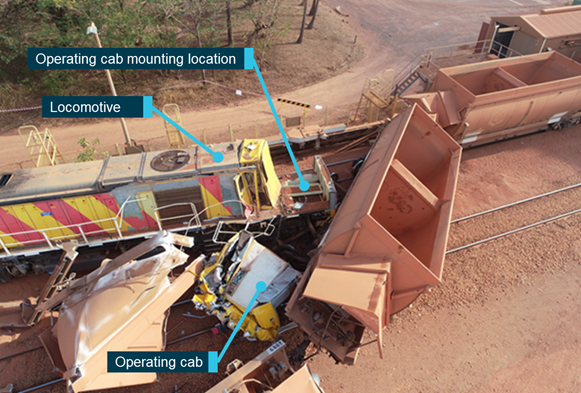 Figure 1: Train collision at Andoom loading point. Source Rio Tinto.