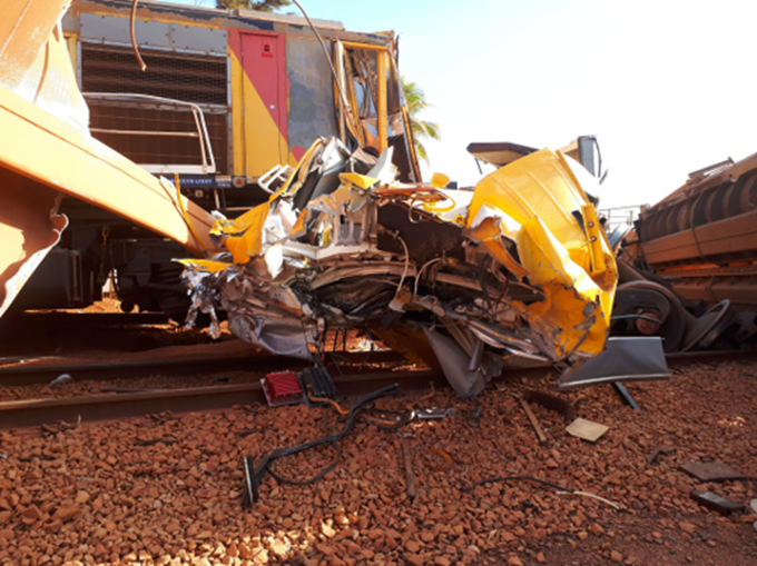 Detached and damaged modular operating cab from locomotive R1006. Source: Rio Tinto