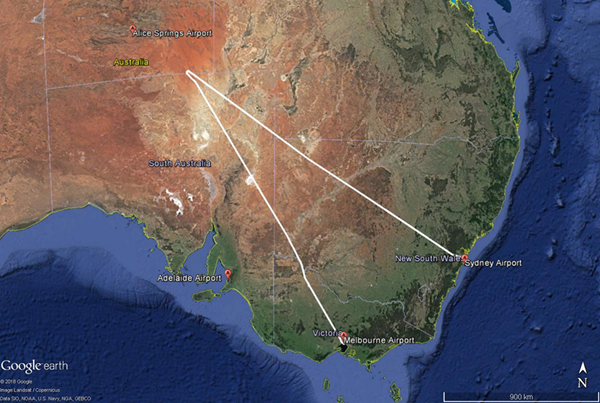 Figure 1: XAX221 flight path. 