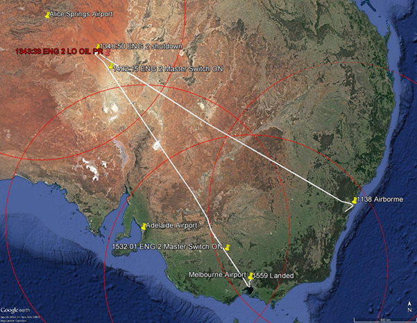 Figure 5: XAX221 flight track, with 430 NM range circles.