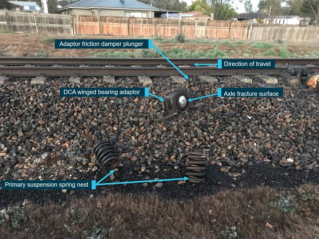 Figure 3: Parts found on Up side of track near derailment location. Source: OTSI