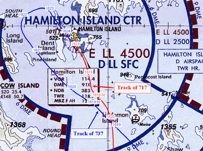 Figure 1: Hamilton Visual Terminal Chart with aircraft tracks and times.