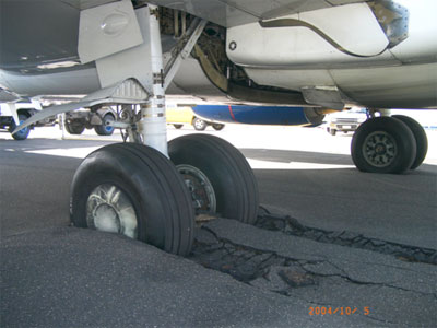 Figure 1: Left main landing gear tyres after penetrating the blast-protection surface adjacent to taxiway Papa.
