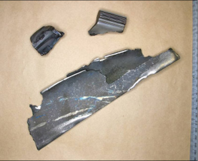 Figure 2: Blade fragments recovered from the failed engine