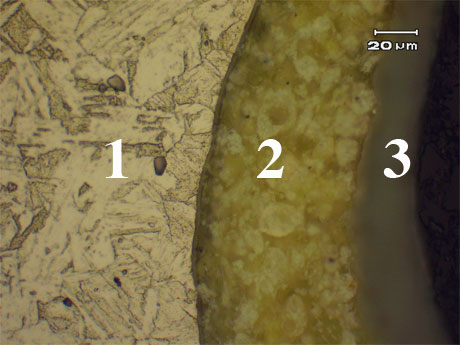 figure 8: The metal (1), primer (2) and top coat layer (3) interfaces (10X magnification).