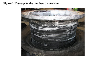 Figure 2 damage to the number 1 wheel rim