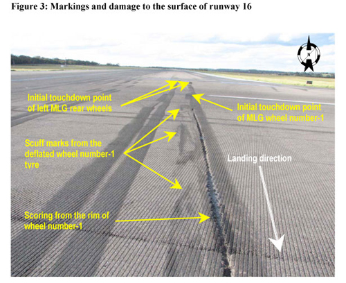 figure 3 markings anf damage to the surface of runway 16