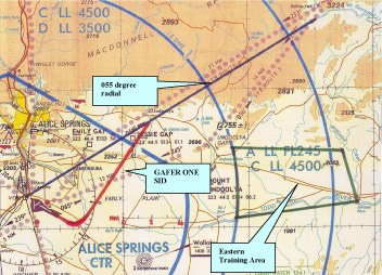 Figure 1: Alice Springs visual terminal chart showing the 055 degree radial, the approximate track of the GAFER ONE standard instrument departure and the Eastern Training Area