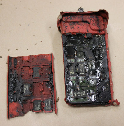 •	Thermally-damaged flight data recorder crash-survivable memory unit