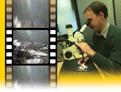 Investigator using microscope