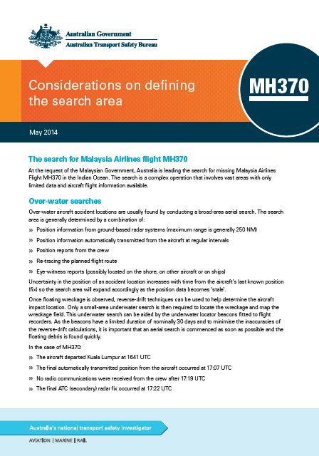 Download complete document - Considerations on defining the search area - MH370