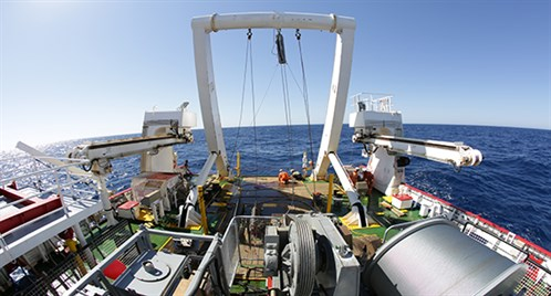 View from the stern of Fugro Discovery as she sails across the southern Indian Ocean