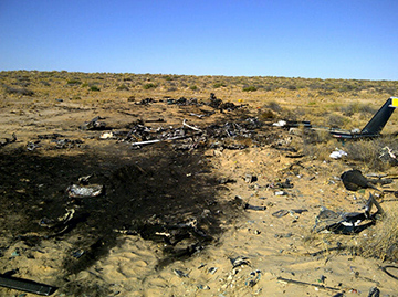 Twin Squirrel helicopter accident site, Lake Eyre, SA in August 2011