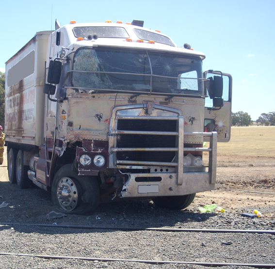 Figure 2: The truck immediately after the collision