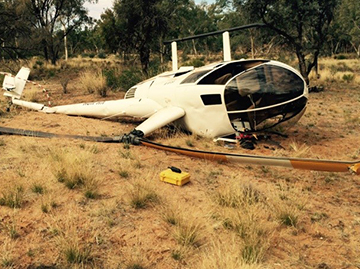 Accident site of the Robinson R44 helicopter, VH-VOH
