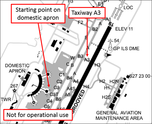 Figure 1: Excerpt from Brisbane aerodrome chart showing the location on the domestic apron where the aircraft commenced taxiing and taxiway A3 where the aircraft waited for a clearance to enter the runway