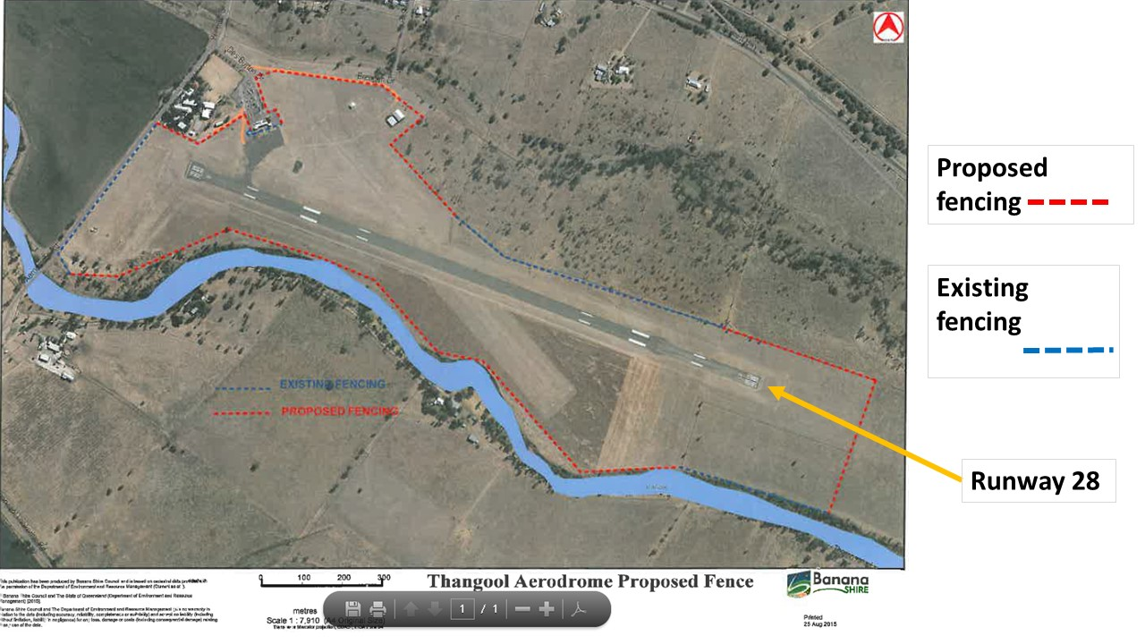 Figure 2: Thangool airport with current and proposed fencing marked