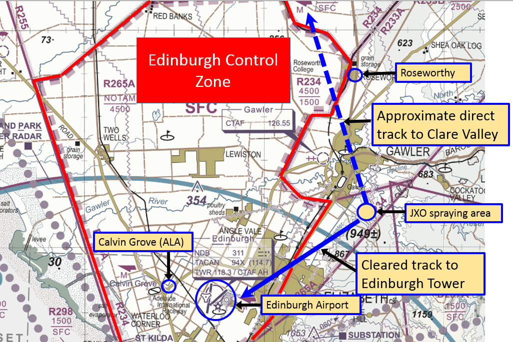 Figure 2: Operating area of JXO, Edinburgh Control Zone and relative tracks