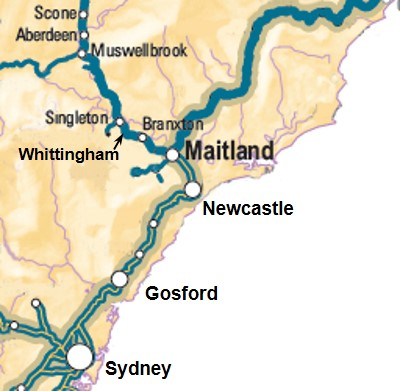 Figure 1: Locations Maitland to Scone