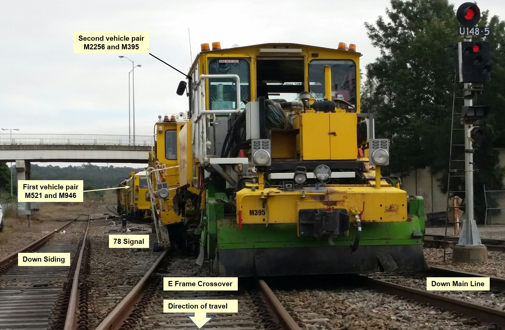 Figure 4: Derailed track vehicles M2256 and M395