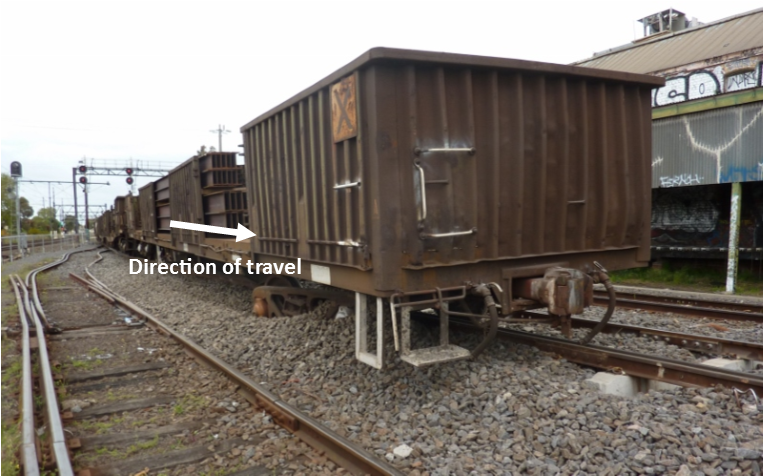 Figure 1: Derailed wagon RKOX 4072D and track damage to adjacent siding
