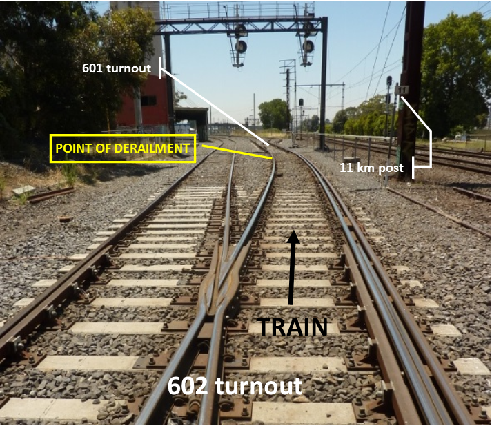 Figure 3: The approach to the left hand curve and the point of derailment