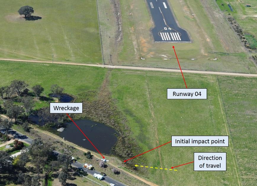 Figure 1: Aerial view of the accident site on the day, showing the threshold of runway 04 and direction of travel prior to impact