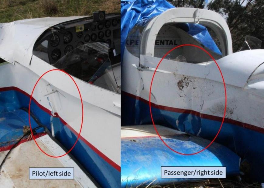 Figure 4: Cockpit region showing buckling alongside the left and right seats