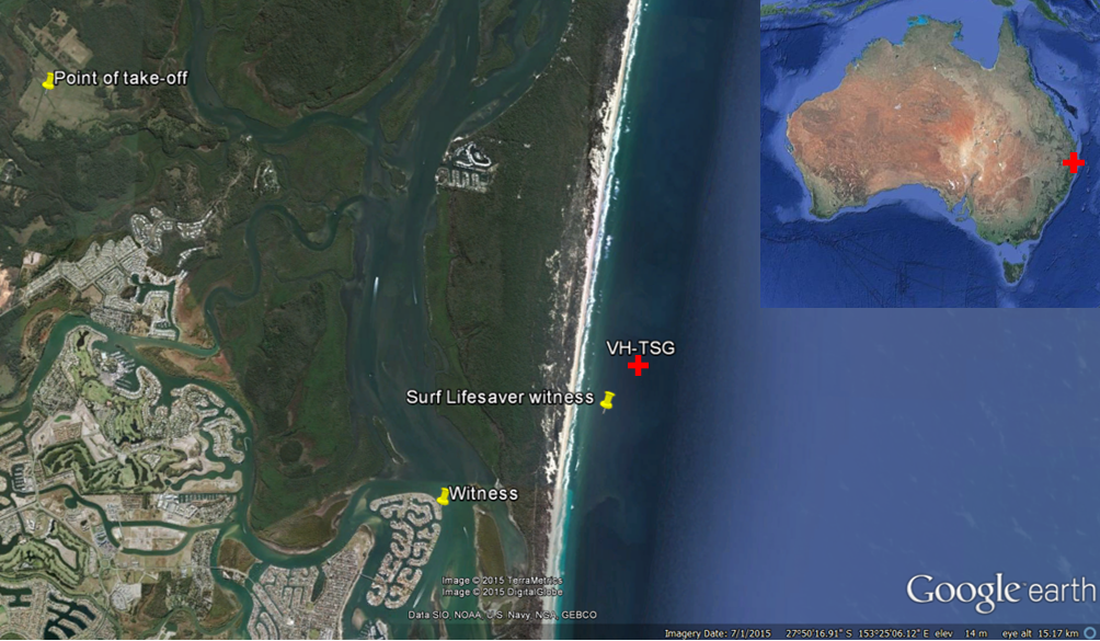 Figure 1: Location overview showing the operator's airstrip, the position of the witnesses and the location of the impact with the water