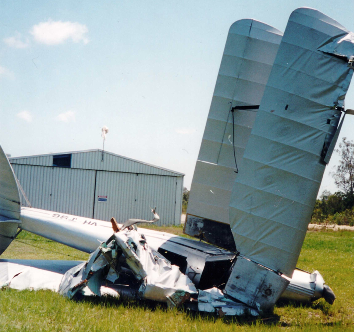 Figure 8: VH-TSG after recovery from bushland near Albatross Field following the accident in 2001