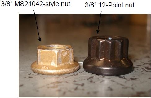 Figure 11: Jabiru 6-sided and 12-sided through-bolt nuts.
