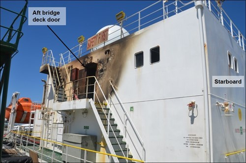 Figure 7: Bridge deck aft (note the damage near the door, which was initially open)