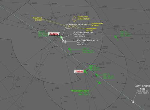 Figure 2: Proximity of aircraft in Tops Central airspace at 0228:10